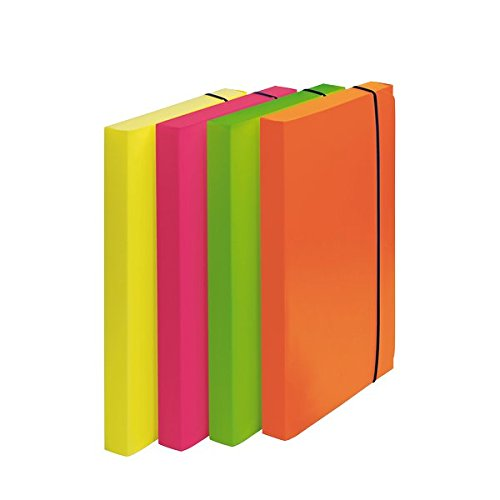 Fellowes 1028101 Cartella Progetto Shocking File, Confezione da 4 Pezzi, Colori Fluorescenti Assortiti