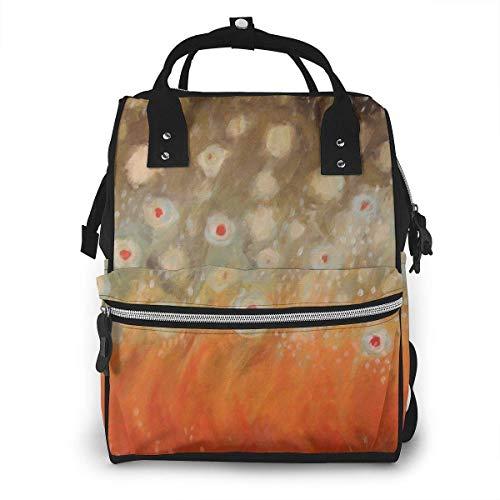 Wickeltasche mit abstrakten roten Punkten, lässiger Reiserucksack, große Kapazität, für Mama und Papa