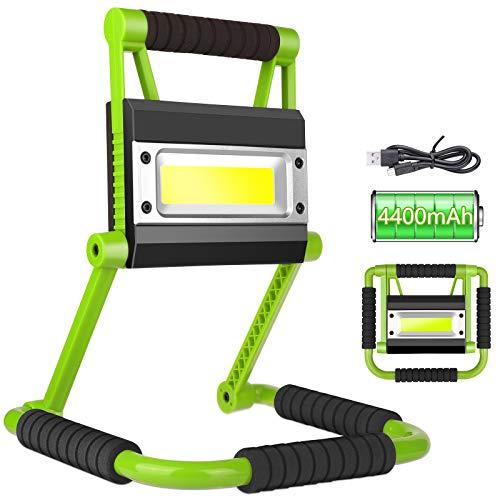 OVAREO - Proiettore da cantiere a LED, illuminazione esterna da lavoro, 30 W, 2400 lm, portatile, con supporto pieghevole, rotazione a 360°, impermeabile IP65