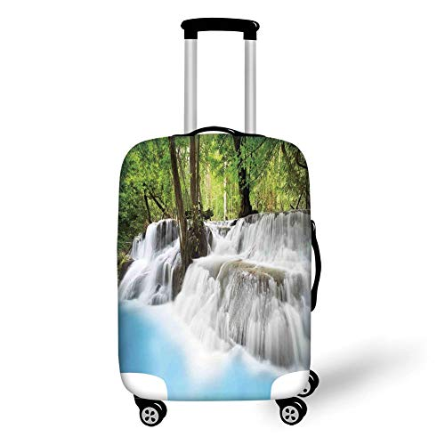 Travel Luggage Cover Suitcase Protector,Waterfall,Mystic Erawan Waterfall in Forest Foggy Over Pool Tropical Jungle,Light Blue Green White,for Travel