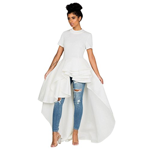 Goddessvan Women Short Sleeve High Low Peplum Dress Bodycon Party Club Asymmetrical Dress (2XL, White)