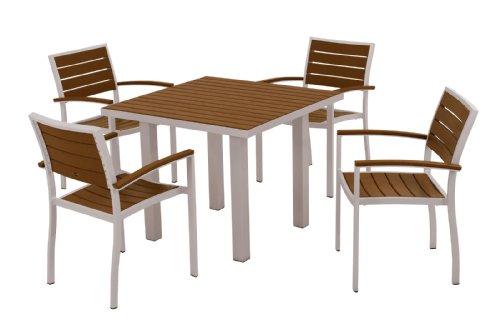 Hot Sale POLYWOOD PWS118-1-11TE 5-Piece Dining Set, Euro, Textured Silver/Teak