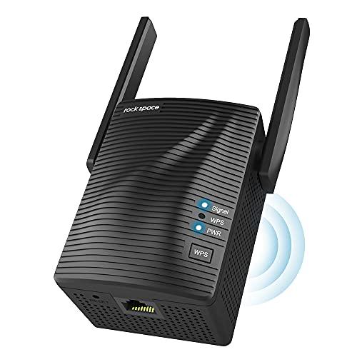 Ripetitore Segnale WiFi-Velocità Dual Band AC1200 WiFi Extender con Gigabit Ethernet/WPS, Ripetitore WiFi Copertura a 200㎡, Extender WiFi per Tutti i Modem Router, Facile da Installare (Black)