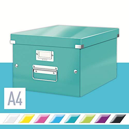 Leitz, Mittelgroße Aufbewahrungs- und Transportbox, Eisblau, Mit Deckel, Für A4, Click & Store, 60440051