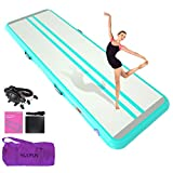 Premium Inflatable Gymnastics Tumble Mat 26 feet Long 3.3 ft Wide 8 inches Thickness Air Tumbling Track for Home Kids,Training,Cheerleading,Yoga,Water with Electric Air Pump Aqua Green -  HIJOFUN