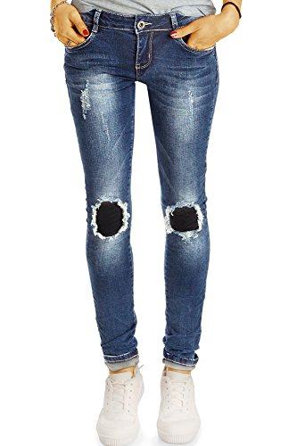 bestyledberlin Damen Ripped Knee Jeans, Skinny Fit Hüftjeans Used Look, Aufgerissene Flicken Röhrenjeans j02l 38/M