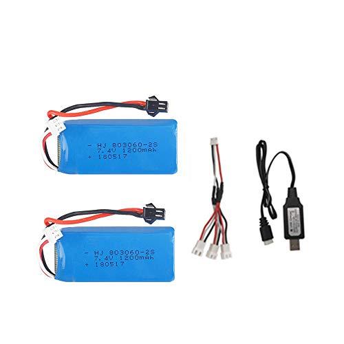 mrwellog 7.4V 1200mAh 2S Batteria Lipo Set per H26 H26C H26W H26D H26HW Telecomando Elicottero Quadcopter Drone Pezzi di Ricambio-Un_2 Pezzi