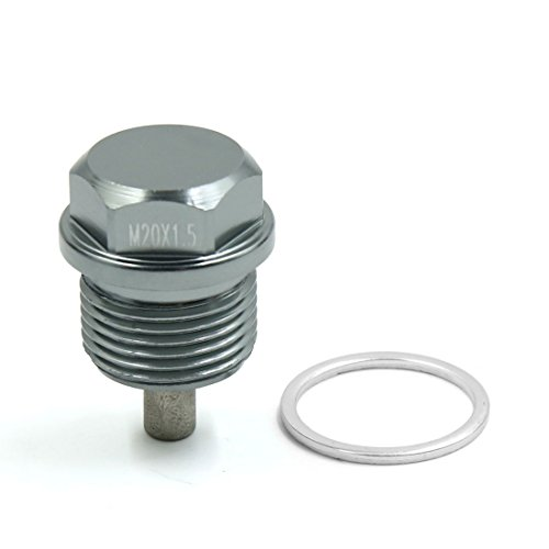 sourcing map Aluminiumlegierung Magnet Motorölwanne Ablassschraube für Auto M20 x 1,5 Grau de