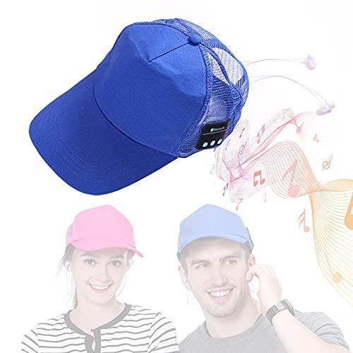 EnweMahi Gorro Bluetooth Unisex Ventilado, Gorra De MúSica Bluetooth Calidad Sonido HD Hi-Fi Chat De Voz, Gorra Auriculares Bluetooth CóModo Transpirable ExtraíBle Y Lavable,Azul,One Size