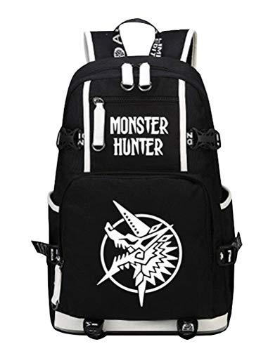 siawasey Monster Hunter Cosplay Luminous Segeltuch Rucksack Schultertasche Schule Tasche für 38,1cm Laptop