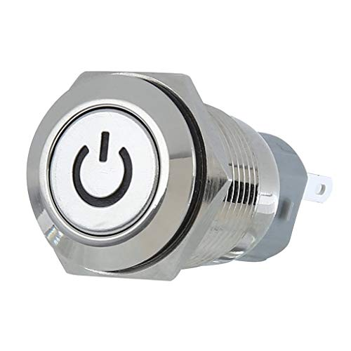 SDENSHI Interruptor de aluminio inoxidable blanco de 25 mm 12 V con cierre pulsador impermeable