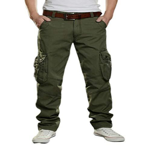 Pantalones Cargo Rectos con múltiples Bolsillos para Hombre, Moda, Todos los Partidos, Tendencia, Casual, Relajado, Pantalones de Color sólido para Exteriores 32