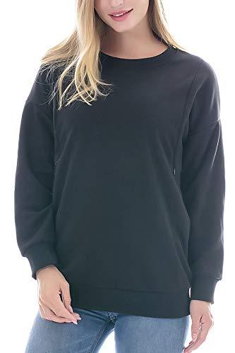 Smallshow Schafwolle Pflege Sweatshirt Langarm T-Shirt Bluse Stillen Pullover Tops Stillshirt Black M