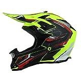 KAAM Casco de motocross para hombre con gafas de protección, guantes, unisex, para todas las estaciones, DH, Enduro, quad, ATV-MTB-BMX (verde neón, M)