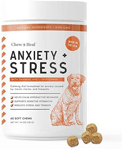 Chew Heal Dog Calming Treats 60 Soft Chews Anxiety Supplement Stress Relief Thiamine and L Tryptophan product image