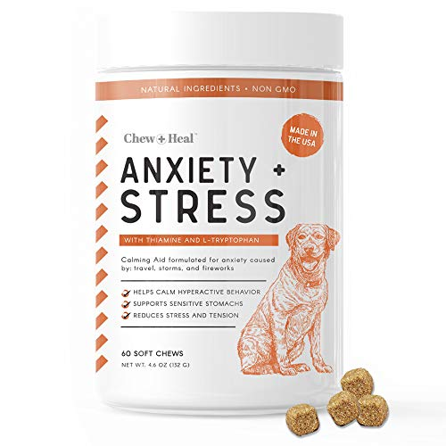 Chew + Heal Calming Dog Anxiety Supplements - 60 Soft Chews - Stress Relief Thiamine and L-Tryptophan for Travel, Storms, Fireworks - Multi Vitamin Formula with Ginger, and Melatonin Sleep Aid