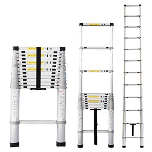 Asan Escalera Alta Extensible telescópica, escaleras Plegables Plegables telescópicas de Aluminio con Mecanismo de Bloqueo con Resorte, Carga 150 kg / 330 lbs (tamaño: 4,1 m / 13,5 pies)