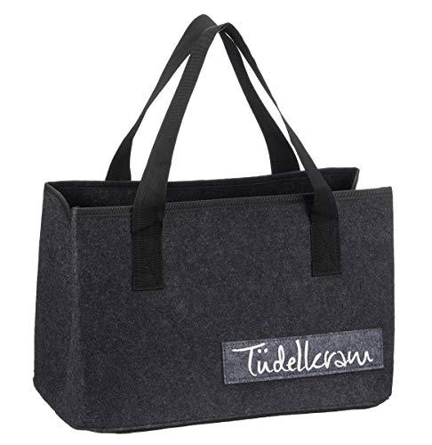 Vilten tas met grappige spreuken voor haardhout boodschappentas krantenmand shopper van vilt opvouwbare haardhouttas vilten mand 40cm x 26cm x 21cm Tüdelkram