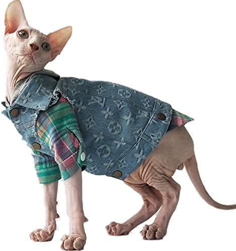 Disfraz De Gato Camiseta Chaqueta Vaquera Chaleco De Gato Sphynx Ropa De Gato Sin Pelo (Pattern : Jeans Jacket+Shirt, Size : Small)