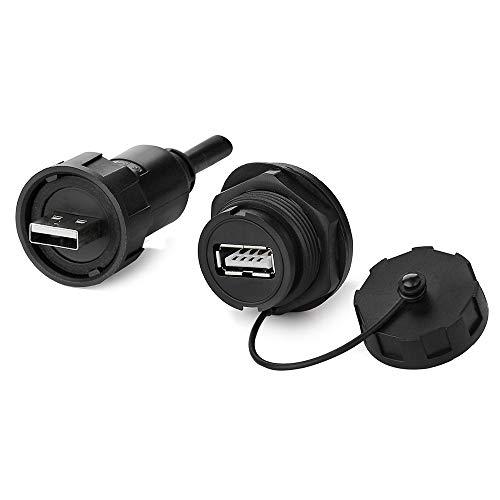CNLINKO - Conector USB 2.0 doble puerto USB macho con cable + enchufe circular hembra con tapa impermeable IP67 montaje en panel de extensión USB para transferencia de datos