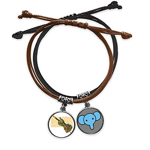 CaoGSH Violin Rock Music Festival Poster Bracelet Rope Hand Chain Leather Elephant Wristband