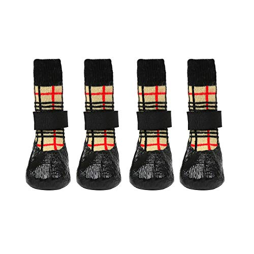 lanboer 2 Pairs Waterproof Dog Socks with Adjustable Straps - Anti-Slip Pet Paw Protectors for...
