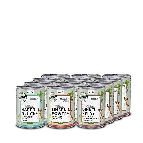 naftie veganes Hundefutter Mixpaket | Bio Nassfutter vegan für Hunde | Menü Spar-Paket mit 3 Sorten | rein pflanzliche Zutaten | 12 x 400 g Dosen