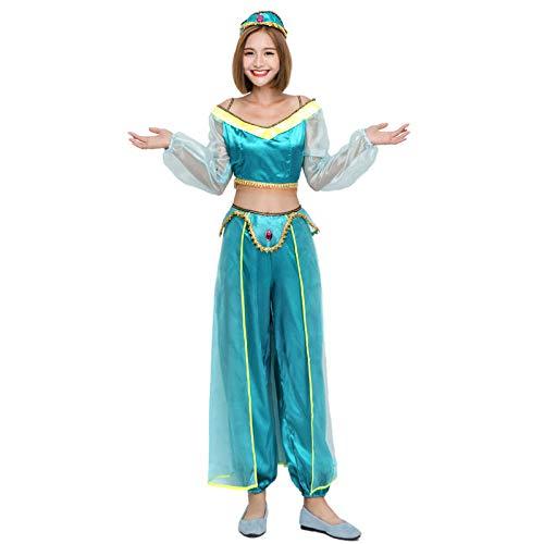 mubgo Ropa Disfraz De Danza del Vientre para Mujer Vestido De Disfraces De Halloween Vestido De Princesa Árabe Bailarina India Baile De Vientre Sexy En Dos Colores @ Green_M