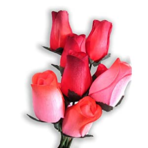 1 Dozen Wooden Roses Pink with Red Tip and Red/Black Tip