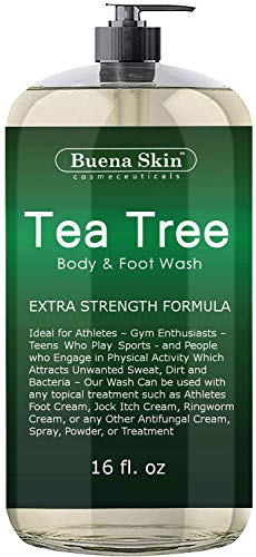Tea Tree Body Wash - Antifungal Soap for Acne, Body Odor, Foot & Toenails - Antibacterial Shower Soap for Bacteria, Athletes Foot, Eczema, Ringworm & Jock Itch Treatment In Men & Women Buena Skin