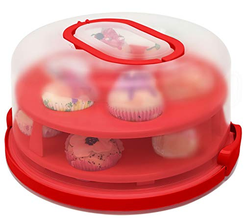 Cupcake Muffin Carrier -Cake Carrier Cover - Cupcake Stand - Dessert Serving Platter - Cupcake Holder - 2-Layer Portable Cake Container Transporter