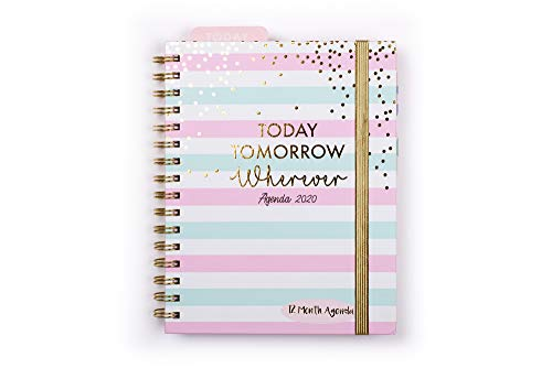 Tri-Coastal Design - 2020 Agenda 12 Mesi, Planner Settimanale con Copertina Rigida e Stickers Divertenti 18x21.6cm (Today Tomorrow)