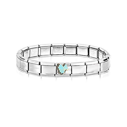 AKKi jewelry Italian Charms Armband mit Schmeterling Links Glieder Set Kult modele für Frauen Italy Charm - Edelstahl Schmuck Silber Modern Schmeterling