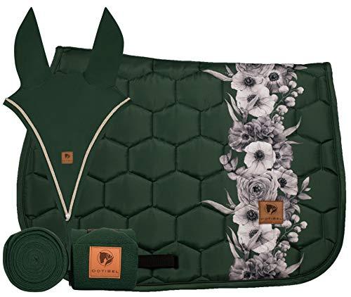 DotiBel Juego de 3 piezas: vendaje y orejeras largo (verde) + alfombrilla para silla de montar en color verde bosque oscuro con una elegante tira de flores blancas y grises (Full VS/GP).