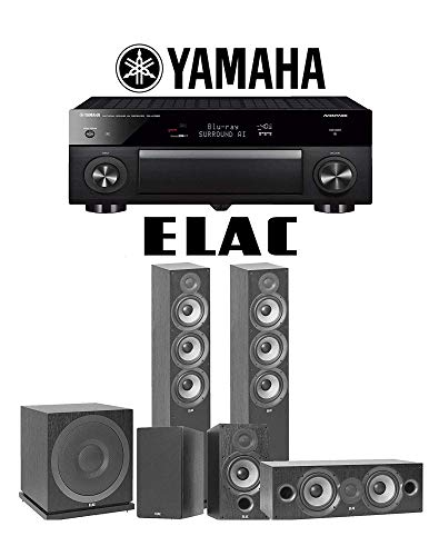 Elac F6.2 Debut 2.0 5.1-Ch Home Theater Speaker System Yamaha AVENTAGE RX-A1080 7.2-Channel 4K Network AV Receiver