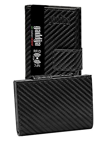 Carteras Tarjeteros para Tarjetas de Credito para Hombre gaddga 2.0 Ultraligero Metalico Bloqueo RFID/NFC Porta Tarjetas de Crédito Billetes, de Cuero PU y Fibra de Carbono Pequeña Clip (no Monedero)