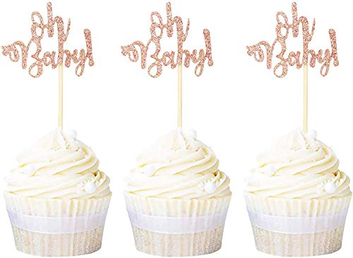 Svnaokr 24 Pack Oh Baby Cupcake Toppers Rose Gold Glitter Baby Shower Cupcake Picks Boys Girls Birthday Party Cake Decorations