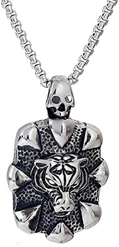 Yiffshunl Necklace Simple Design Retro Men s Women Classic Match Domineering Personality King of The Forest Tiger Head Pendant Necklace