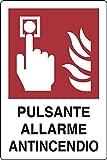 PIXLEMON Cartello Alluminio cm 18x12 Pulsante Allarme ANTINCENDIO