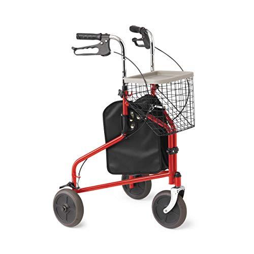 Medline 3-Wheel Rollator, with Basket, Red