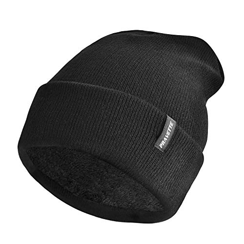 PRAVETTE Winter Beanie Mütze mit Warmfutter - Unisex Warme Strickmütze für Herren und Damen, Schwarz/Grau (Schwarz)