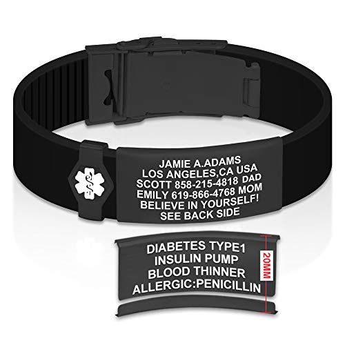 Divoti Sport ID Medical Alert Bracelet – Personalized Medical ID Bracelet – Trim-to-Fit Adjustable True Black Silicone Band w/Security Clasp & Dual-Side Engraving - Pro PVD Black - White