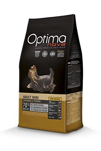 Optimanova Super Premium Huderfutter Adult Mini - Trockenfutter Hähnchen and Kartoffeln – 8kg - Hypoallergen - Ohne Getreide - 40% Frischfleisch - Kleine Hunderassen