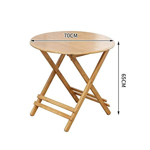 Alvnd klaptafel, bamboe/rond, klaptafel voor picknick, draagbaar, klaptafel, speeltafel, bartafel (houtkleuren) B-70 * 65m