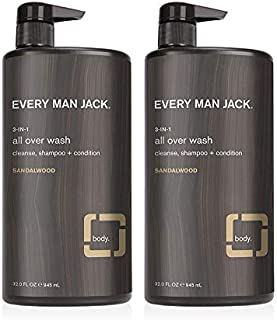 Every Man Jack 3-in-1 All Over Wash - Sandalwood | 32.0-ounce Twin Pack - 2 Bottles Included | Naturally Derived, Parabens...