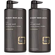 Every Man Jack 3-in-1 All Over Wash - Sandalwood | 32.0-ounce Twin Pack - 2 Bottles Included | Naturally Derived, Parabens-free, Pthalate-free, Dye-free, and Certified Cruelty Free