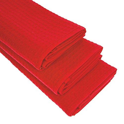 Daloual 3X Piquee-Geschirrtuch, in Gastro-Qualität, 100% Baumwolle, 70x50 cm, hochwertiges Waffelpikee, Farbe: rot