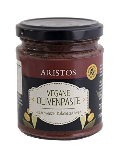 ARISTOS schwarze Tapenade aus griechischen Kalamata Oliven – 3x 190g leckere vegane Olivenpaste als veganer Brotaufstrich und zum Kochen mit griechischen Kräutern und Gewürzen verfeinert