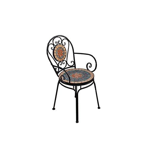 ZHyizi Krukken met rugleuning stoel met armleuningen Gezellige Sterke Ergonomie Tuinstoelen IJzeren Kunst En Tegel Krukje Mode Loft Industriële Stijl Balkon Vrije tijd Stoel