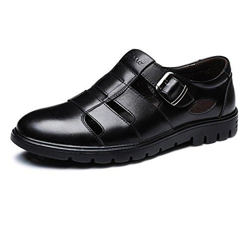 Zoo-yil Lqp-nsxjx Zapatos de los Hombres clásicos Transpirable Velocidad de Corte Real de Cuero de Vaca Slip-on Suavemente único Mocasín (Color : Black, Size : 38 EU)